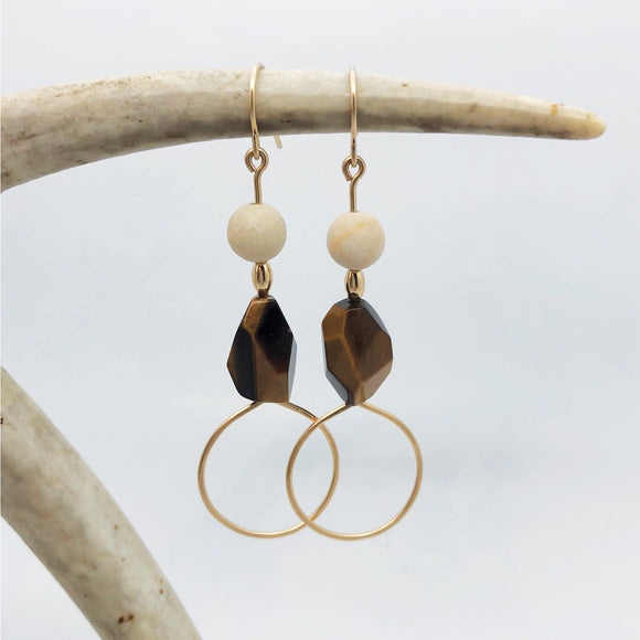 Tiger's Eye + Riverstone Earring