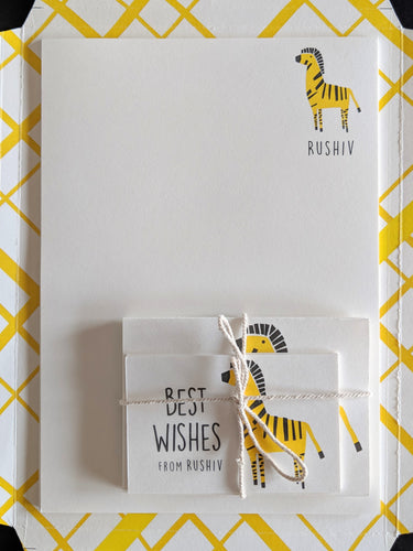 KIT - Personalised Stationery Set : Zany Zebra