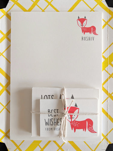KIT - Personalised Stationery Set : Fancy Fox