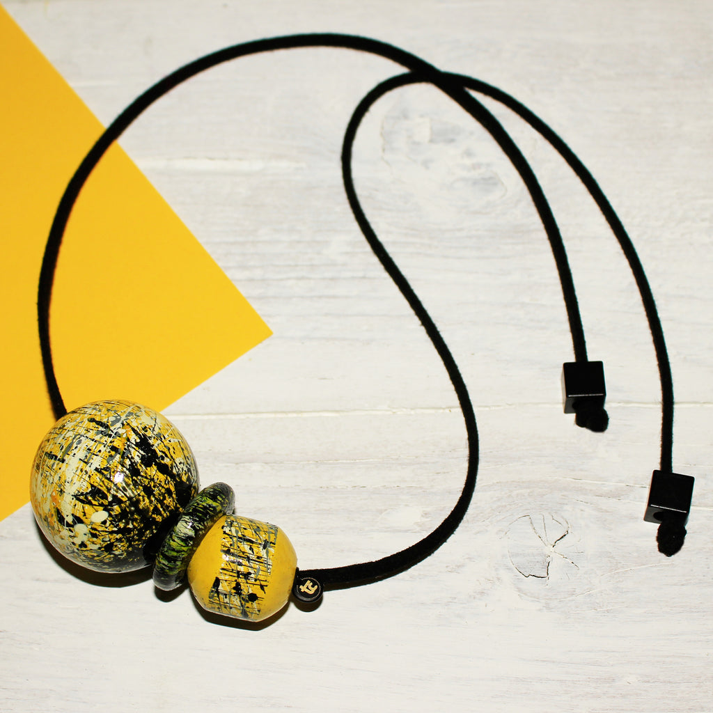 Yellow handpainted wooden tie back suede necklace, handpainted wooden necklace, yellow wooden necklace, yellow creative necklace
