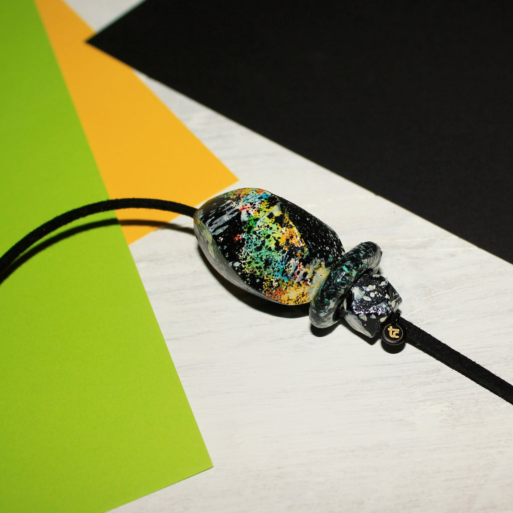 Multicoloured handpainted wooden suede tieback necklace