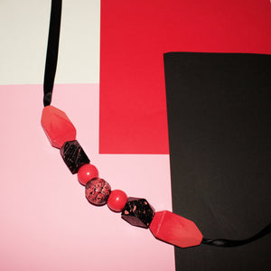 Red coral handpainted wooden ribbon necklace, wooden statement necklace, colourful statement necklace