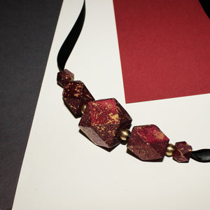 Maroon metallic handpainted wooden ribbon necklace