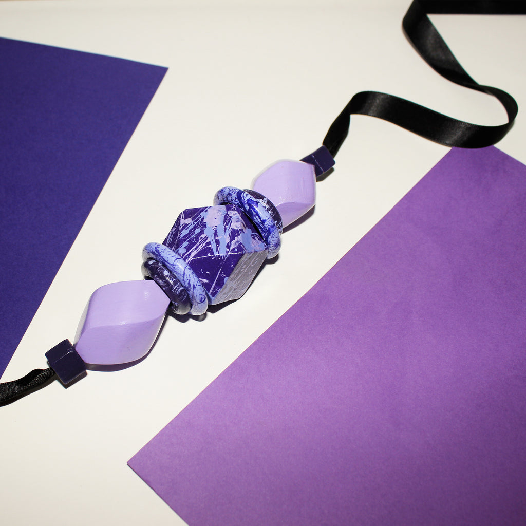 Purple handpainted wooden ribbon necklace
