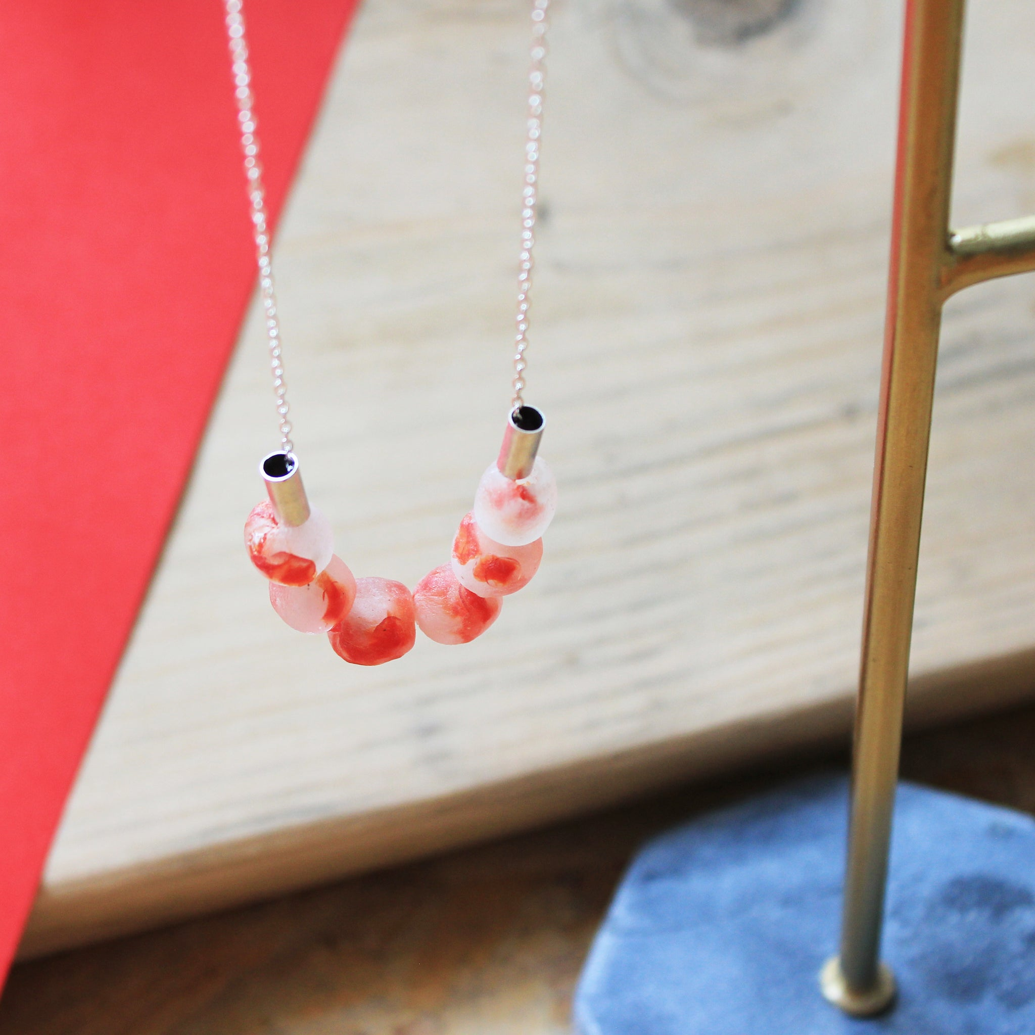 Coral look stylish, minimalist necklace with recycled glass Ghanaian beads