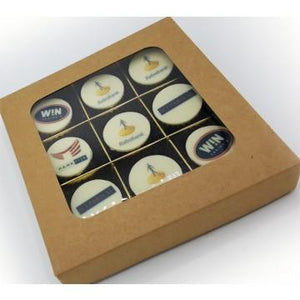 9 bonbons met logo in luxe Craftbox
