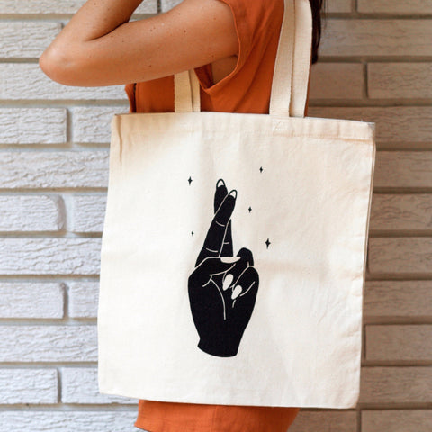 Fingers Crossed Canvas Tote