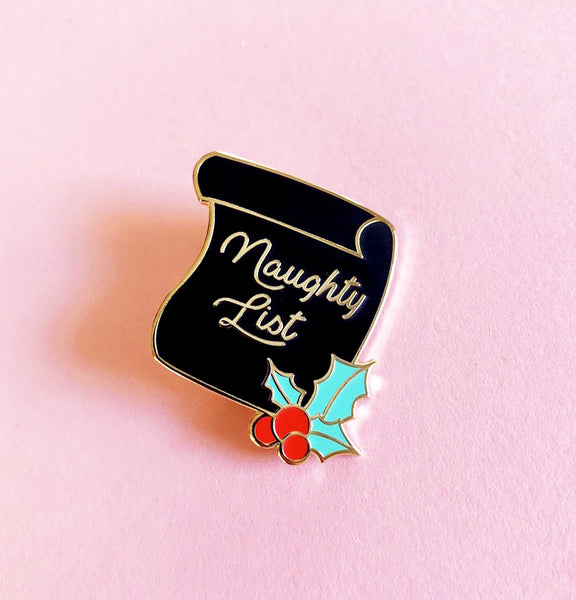 Naughty List Enamel Pin 1.25""