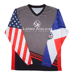 Dominican American Long Sleeve Stripes