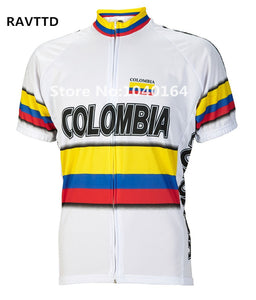 Colombia Bike Cycling Jersey Breathable Cycling Clothing Ropa Ciclismo/Quick-Dry Bike Jerseys Top white