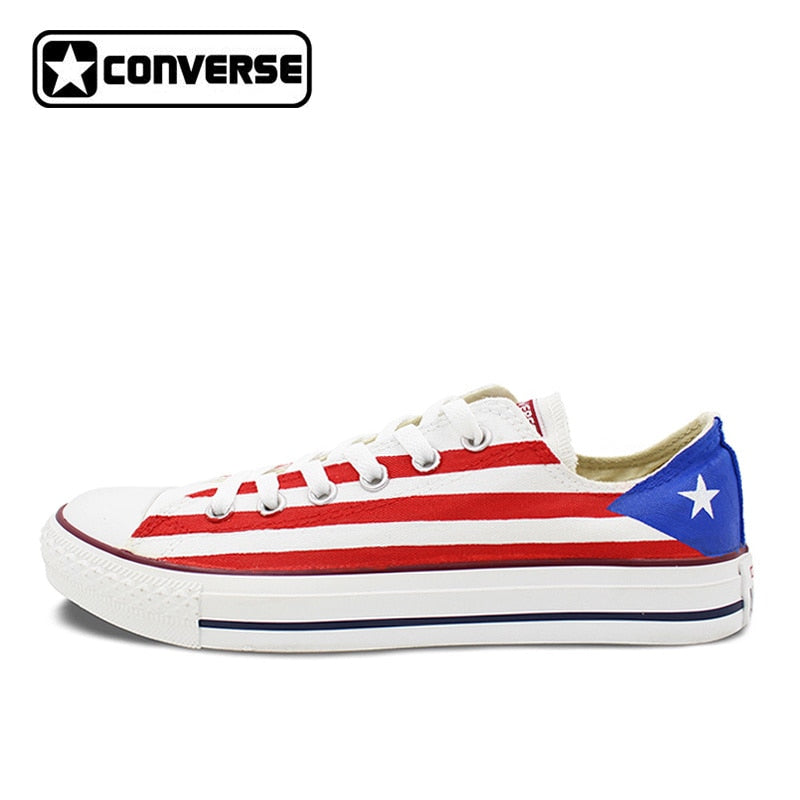 USA Puerto Rico Flag Original Design Converse Chuck Taylor Custom Hand Painted Sneakers Low Top Skateboarding Shoes Women Men