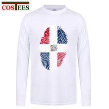T shirt 2017 Long Sleeves cotton Dominican Republic Flag Fingerprint T Shirts Men Casual Dominican Independence Family T-Shirts