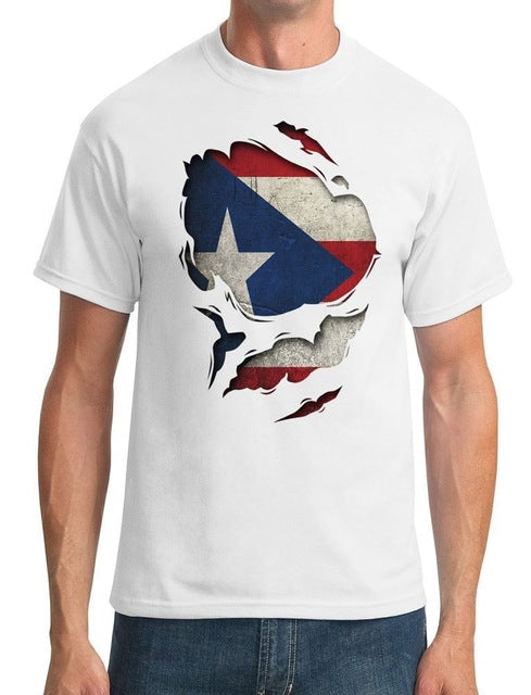 Puerto Rico Ripped Effect Under Shirt - Mens T-Shirt Adults Casual Tee Shirt T Shirts Man Clothing Free Shipping Top Tee