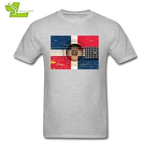 3D Vintage Acoustic Guitar with Dominican Flag T shirt Guys Newest Unique Tshirts Classic T-Shirts Men Round Neck Dad Clothes