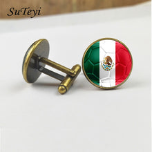 SUTEYI Mexico Flag Football Print Men Cufflinks Shirt Suit Charms Glass Dome Silver Black Bronze Fashion Gifts Wedding Jewelry