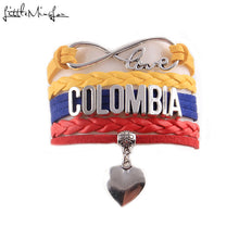 Little MingLou Infinity love COLOMBIA  Bracelet heart Charm bracelets & bangles for Women men leather braid country jewelry