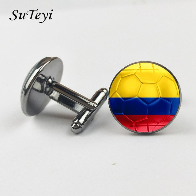 SUTEYI Hot Colombia Flag Football Print Cufflinks For Men Husband Gifts Shirt Suit Charms Round Glass Dome Jewelry New Arrival