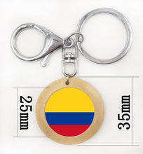 Colombia Flag Glass Cabochon Key Chain women Packet keychain Flag key Ring Accessories