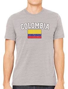 2018 Print T-Shirt Harajuku Short Sleeve Men Top Summer Fashion Funny Print Cybertela Faded Colombia Flag Men's Tee shirt