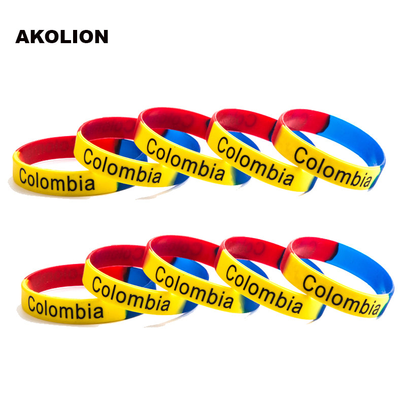 Colombia Flag Silicone Rubber Bracelets Sports Wrist Band Bangle for Women Men 100pcs/lot