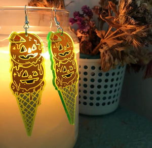 Candy Corn Ice Cream Earrings