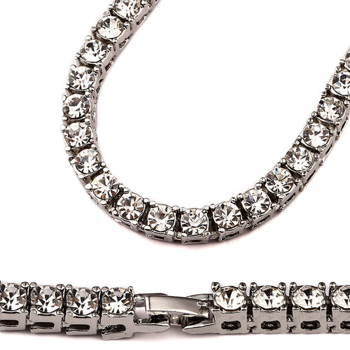 CZ Diamond Tennis Bracelet & Chain Combo