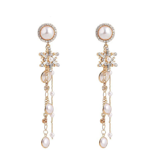 Pearly Tasseled Snowflake Drop Earrings