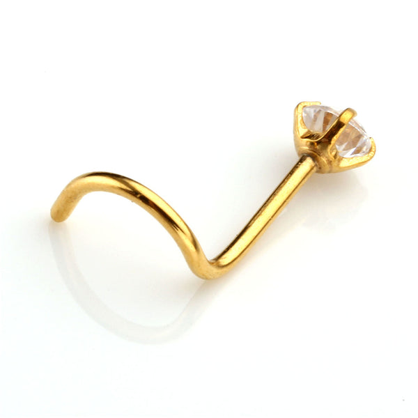 CZ Diamond Stud Nose Ring (pair)