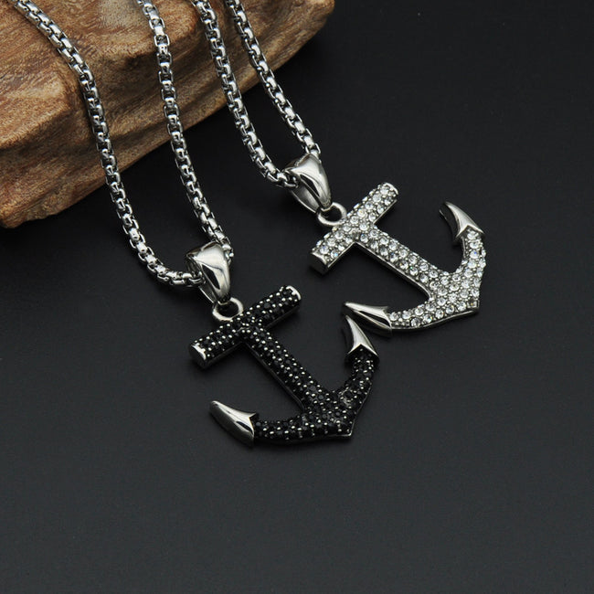 CZ Diamond Anchor Necklace