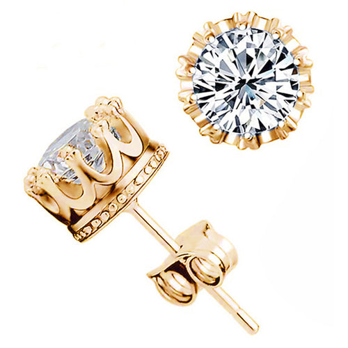 CZ Diamond Crown Earring Studs