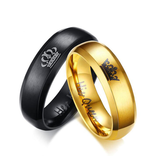 King & Queen Matching Couple Rings
