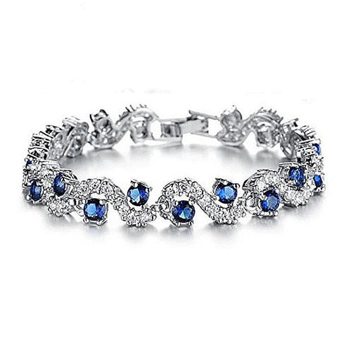 CZ Diamond Weave Pattern Bracelet