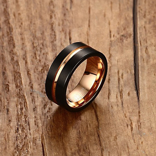 TC Rose Gold Pinstripe Ring