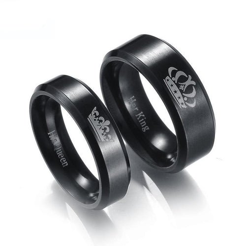 Black Matching King & Queen Couple Rings