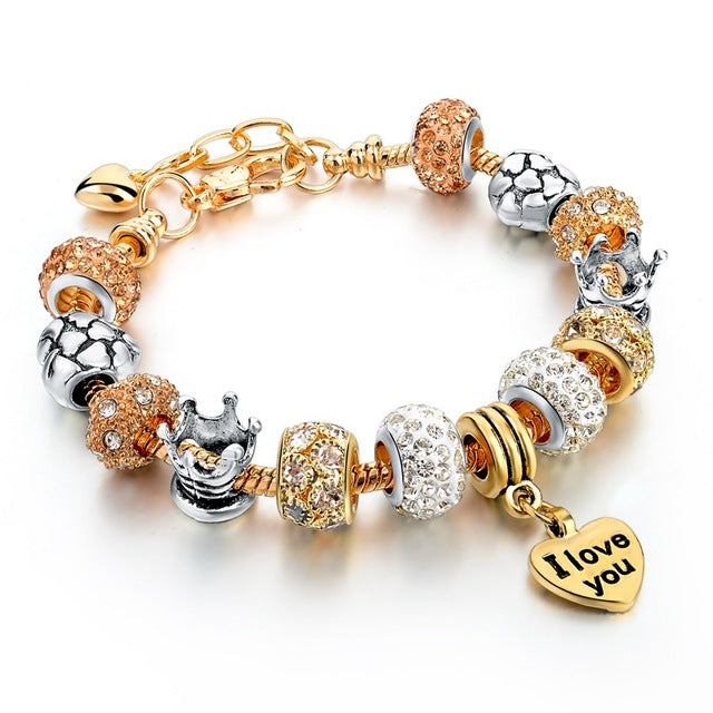 CZ Diamond & Gold Charm Bracelet