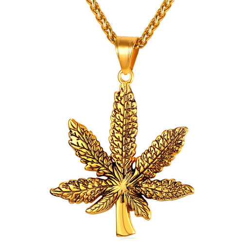 Weed Leaf Pendant Necklace