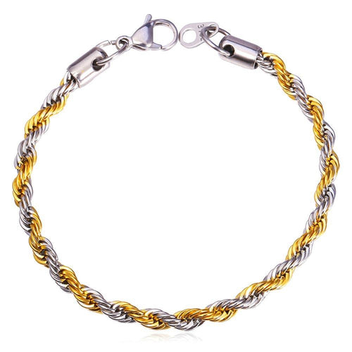 Two-Tone Rope Chain Bracelet