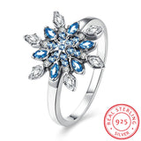 Silver CZ Diamond Snowflake Ring