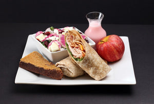 Wrap, Artisan Salad, Apple, Double Fudge Brownie, Perrier