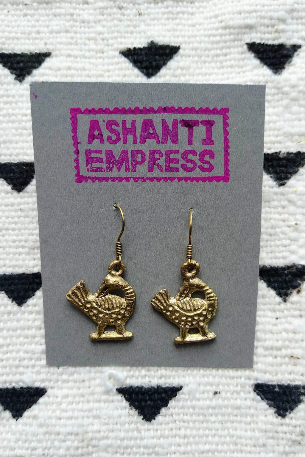 Ashanti Brass Earrings / Sankofa Earrings / Statement Earrings / Tribal Earrings / Bohemian Jewelry / Brass Earring /Ethnic Jewelry /Adinkra