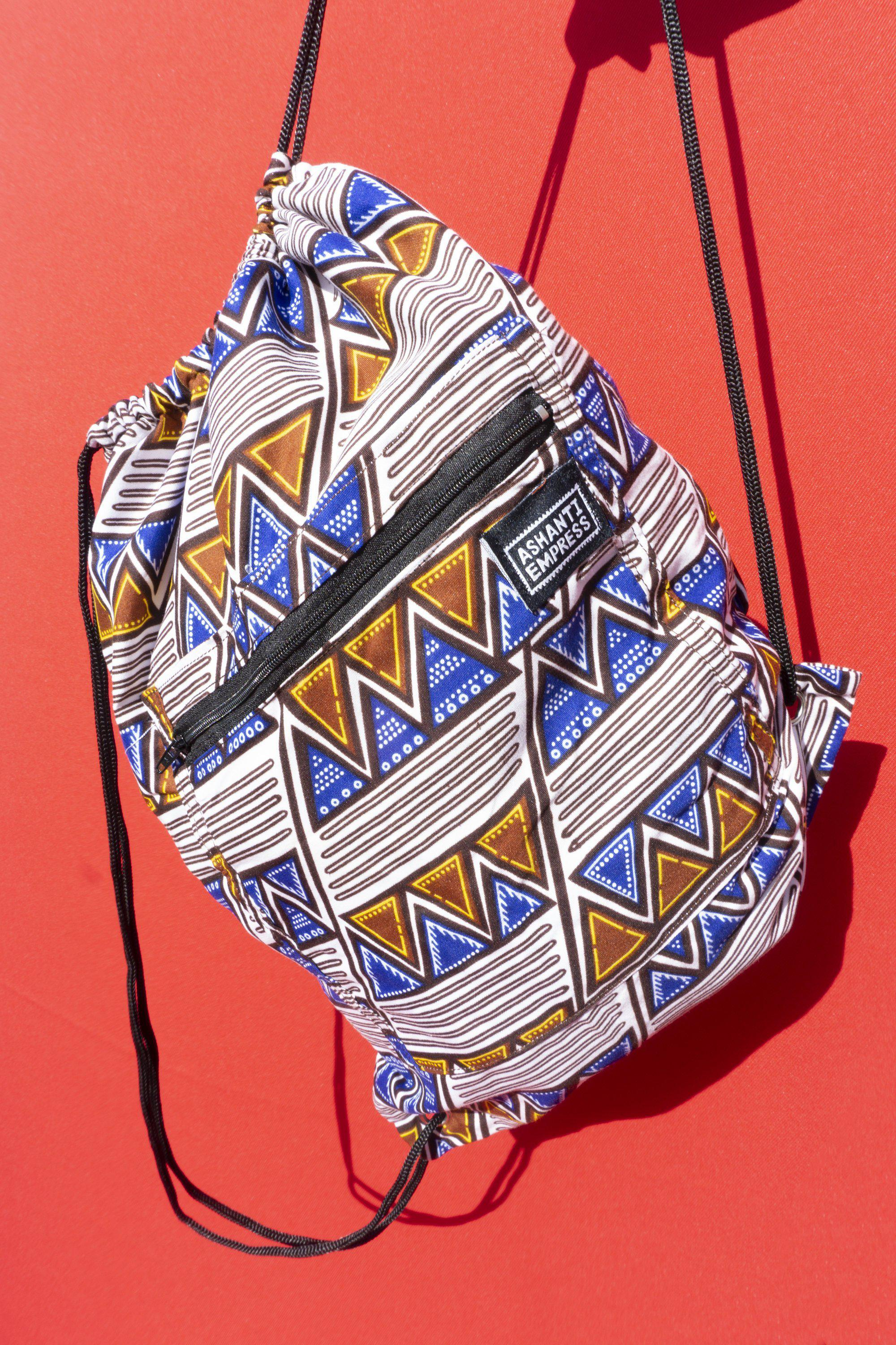 Aztec Blue Drawstring Bag / Colourful Gym Bag / Ankara Backpack / Childrens Bag / African Print Drawstring Bag / Festival Bag