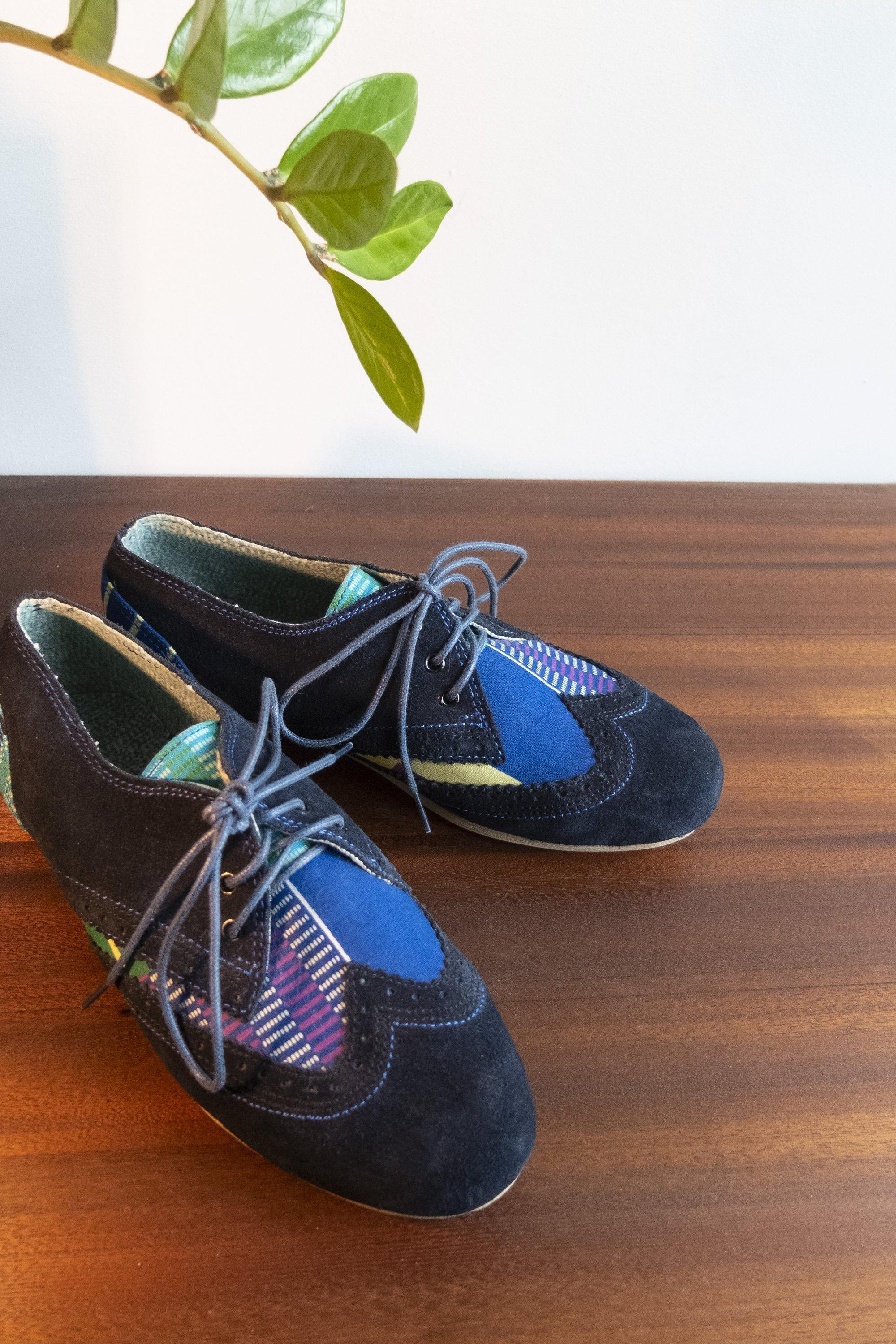 Coloulful Womens Oxford Shoes / Blue Suede Shoes / African Print Shoes / Handmade Womens Brogues / Ankara shoes / UK size 4