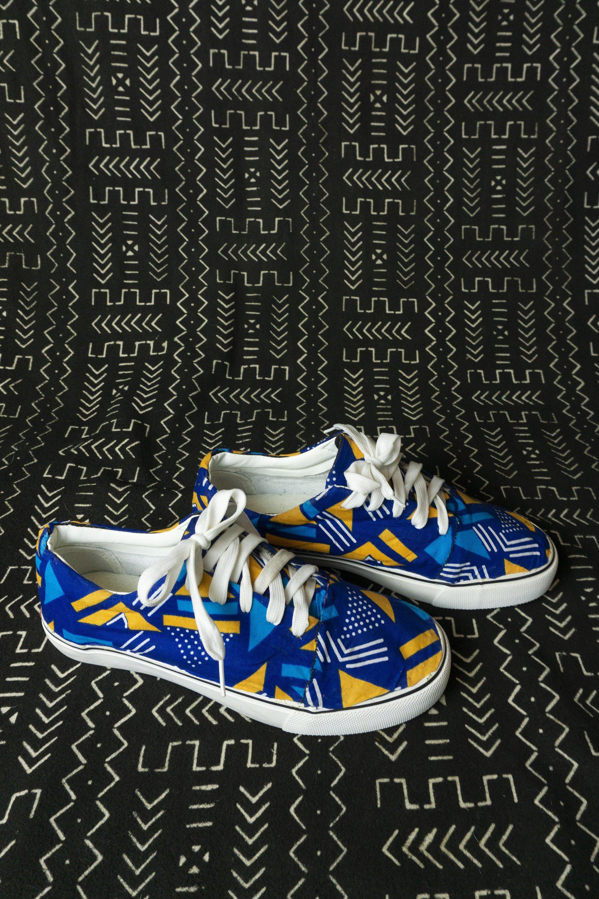 Blue African Print Sneakers / Custom Made Ankara Trainers / African Print Shoes / Custom style Vans / African Shoes / Size UK 6.5