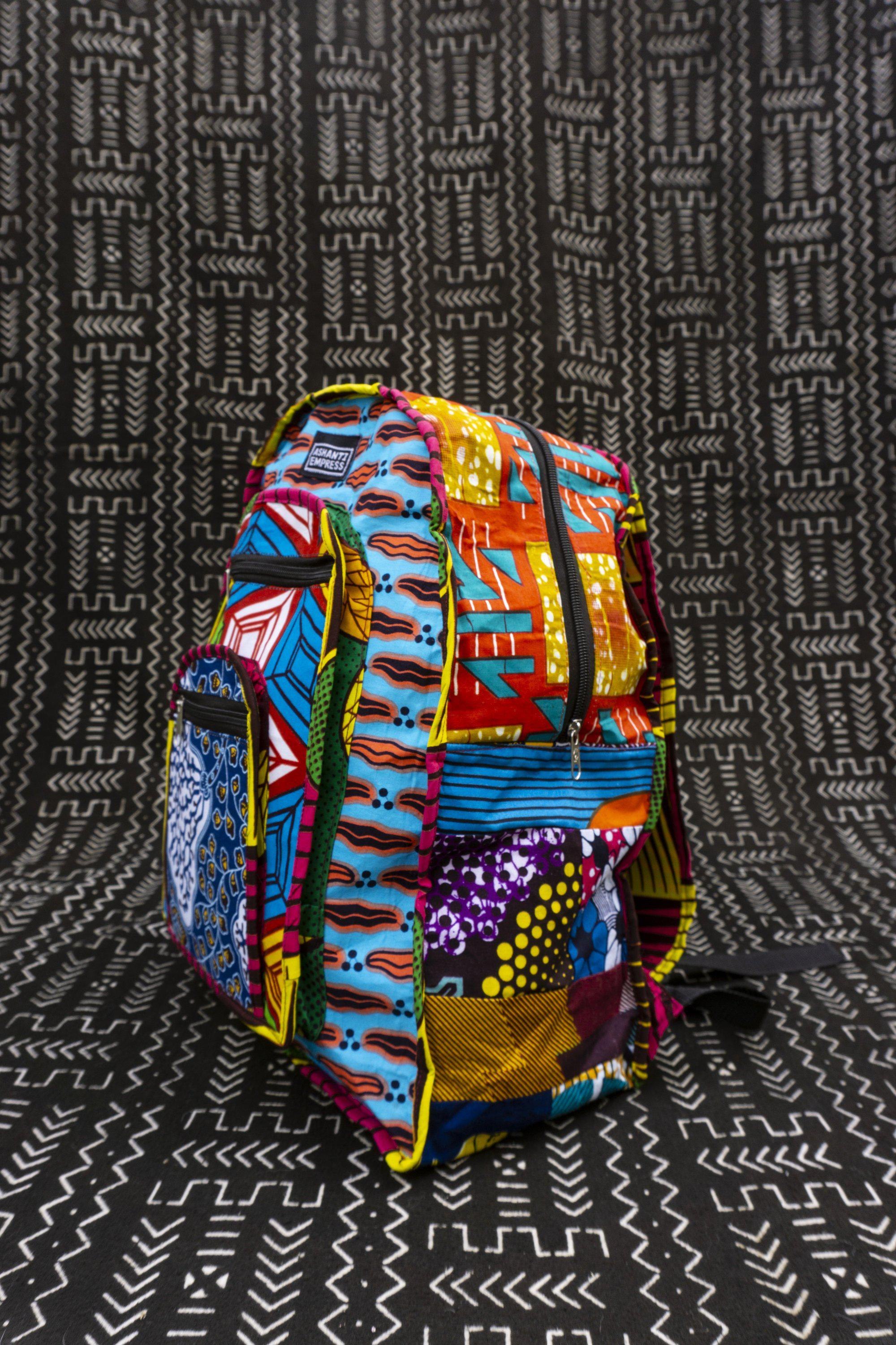African Print Patchwork Backpack / Colour Me Crazy Backpack / Colourful School Backpack / Recycled Fabric Backpack / Eco bag