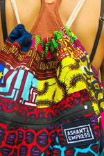African Patchwork Drawstring Bag / Recycled Bag for Life / Ankara Backpack / Kids backpack