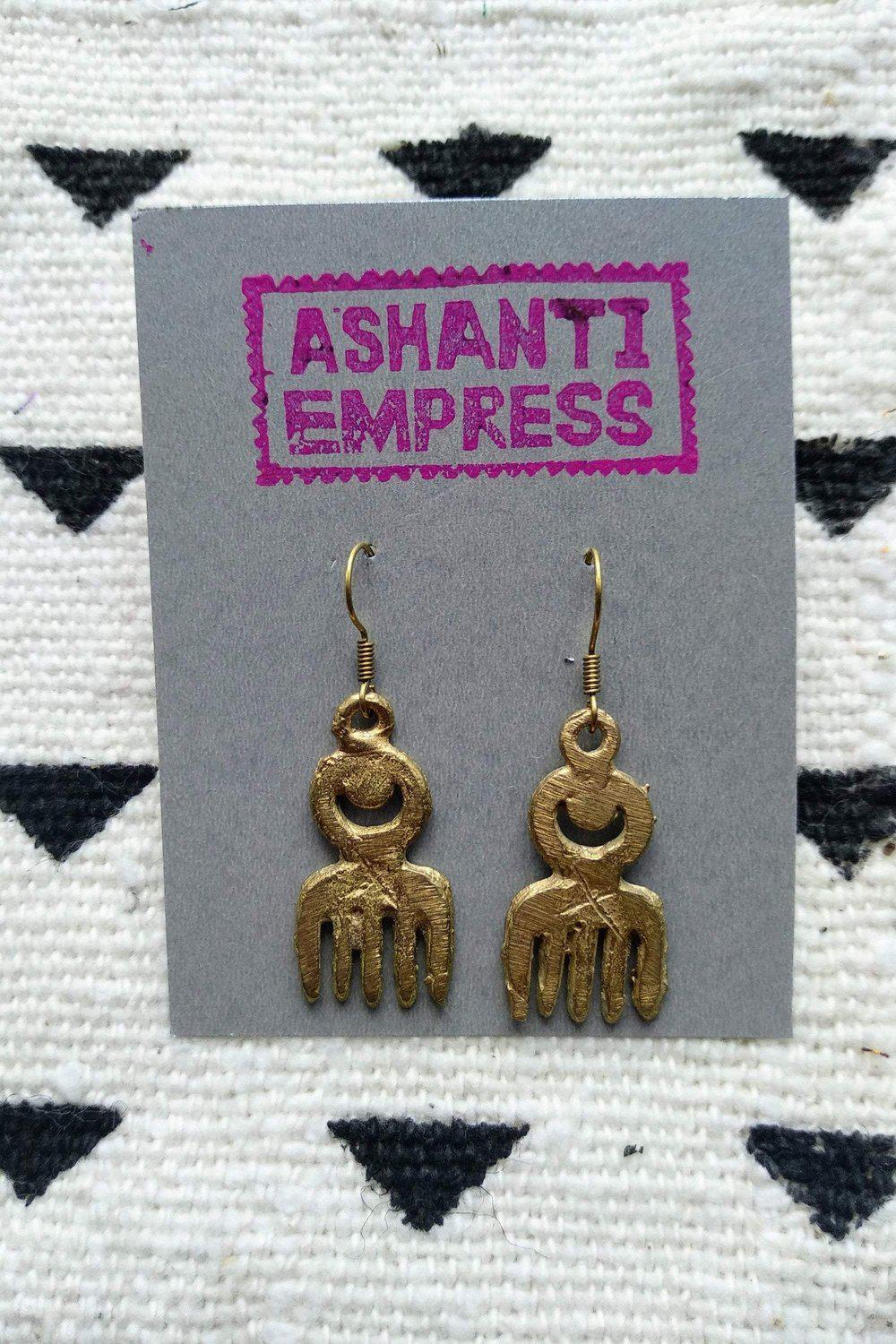 Comb Brass Earrings-accessories-Ashanti Empress