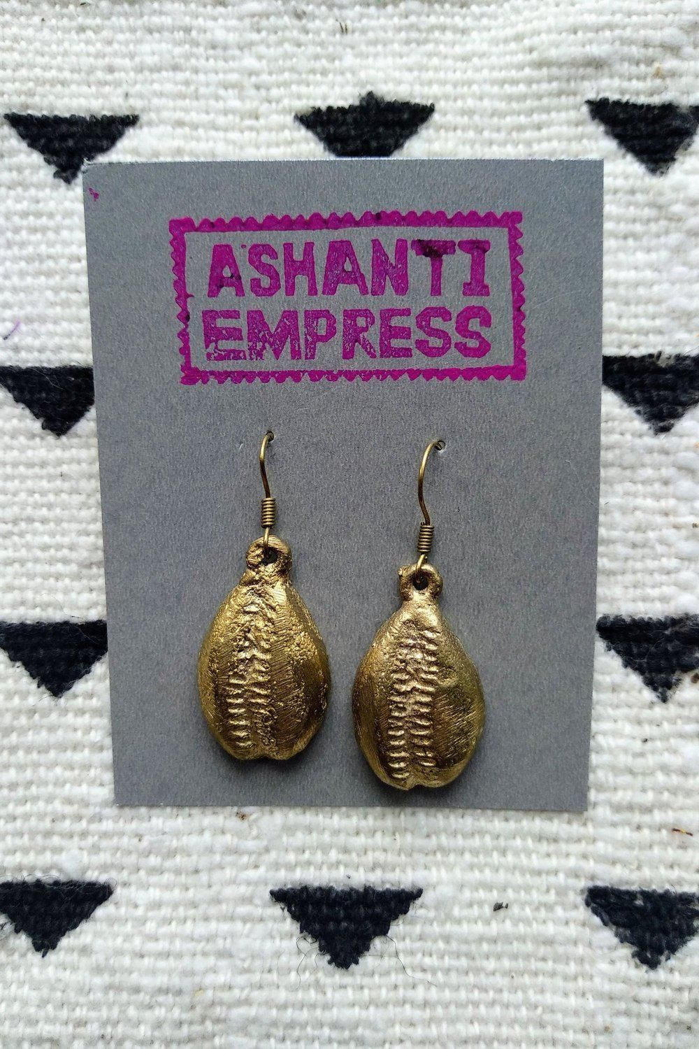 Cowrie Shell Brass Earrings-accessories-Ashanti Empress