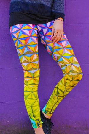 Colourful Geometric Print Yoga Pants / Cuboid Cupid Leggings / Patterned Yoga Leggings