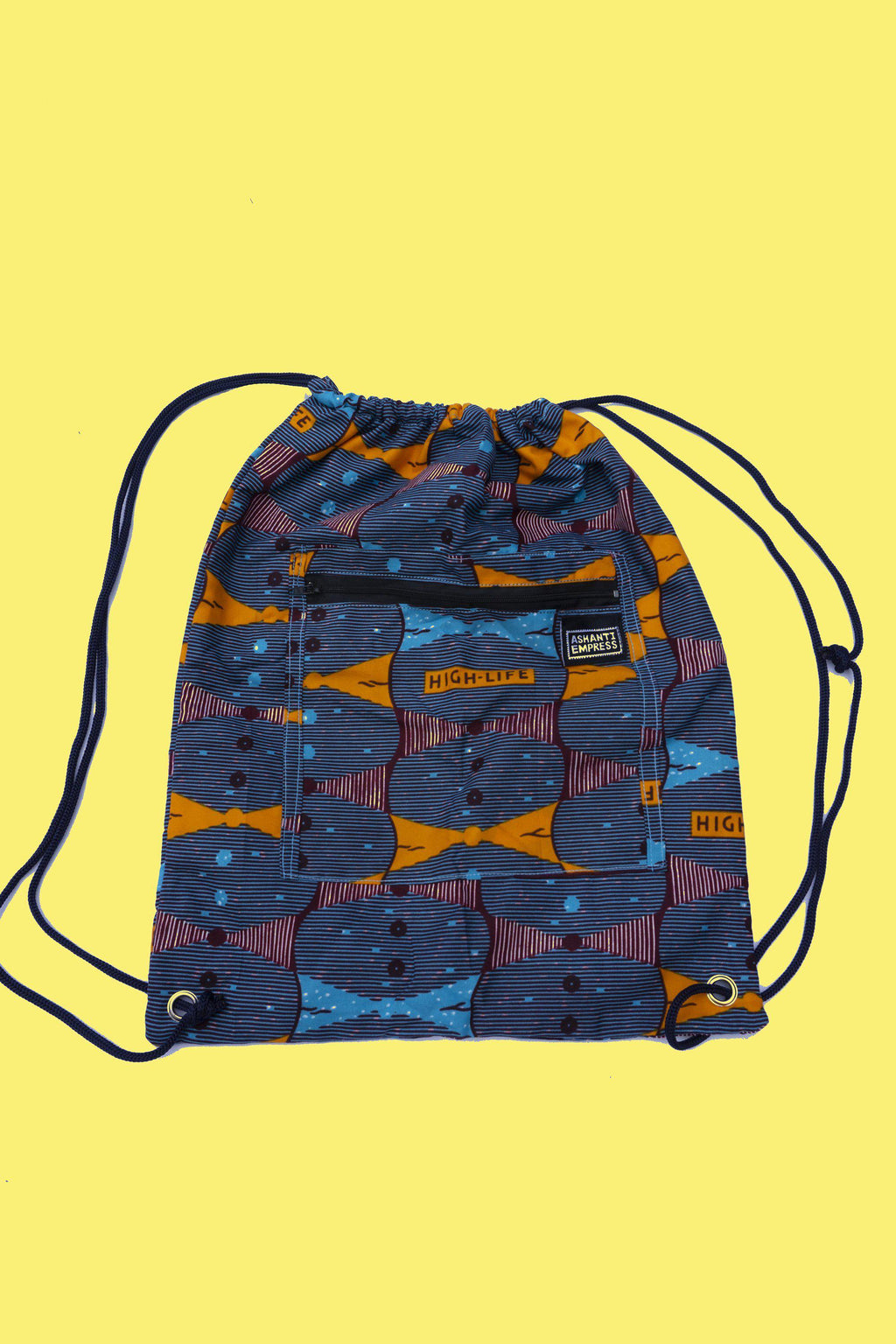 Highlife Drawstring Bag / African Print Drawstring Bag / Colourful Gym Bag / Ankara Backpack / Childrens Bag / Festival Bag