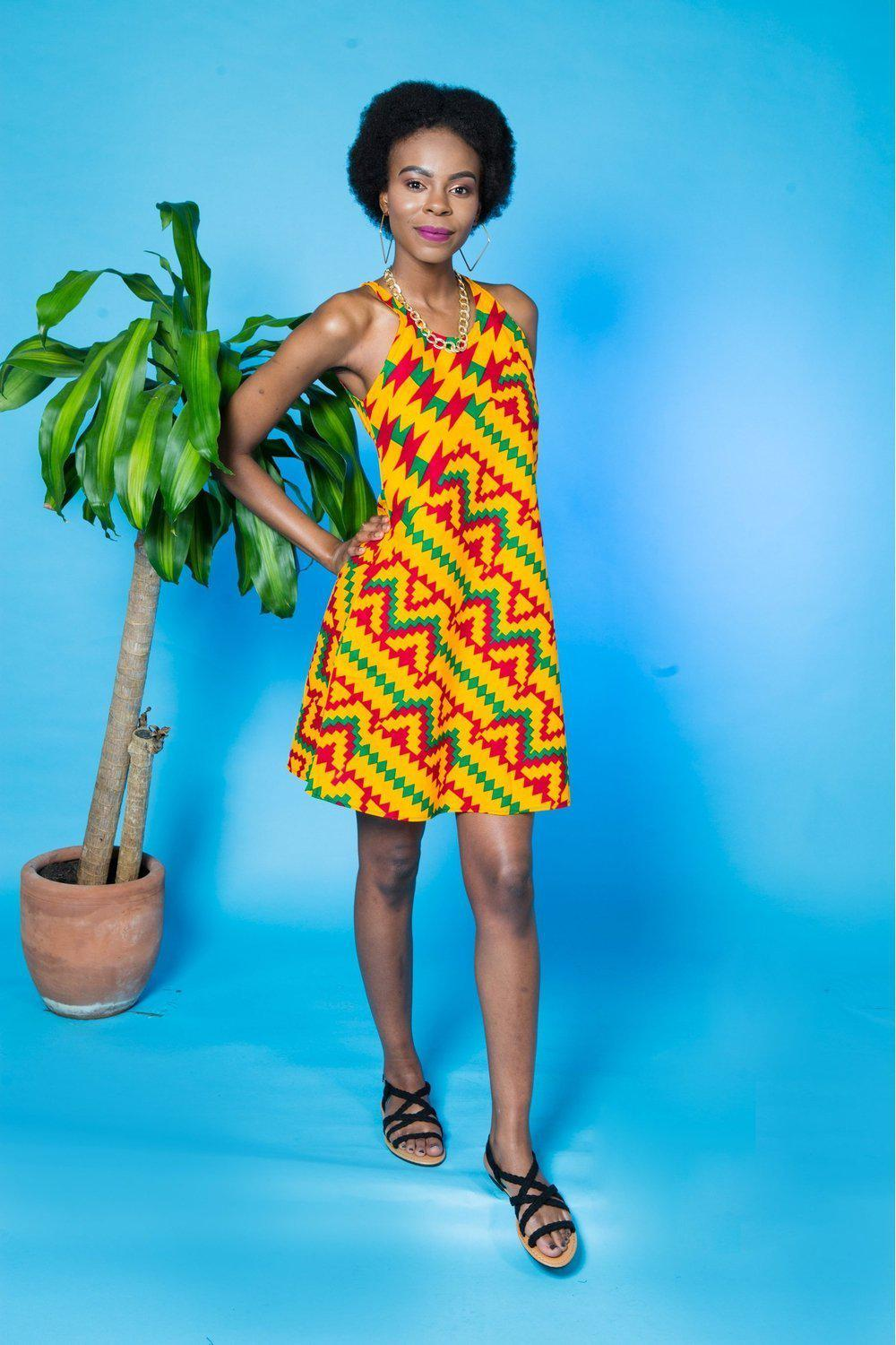 Obayaa Papaya Kente Print Dress-african print dresses-Ashanti Empress